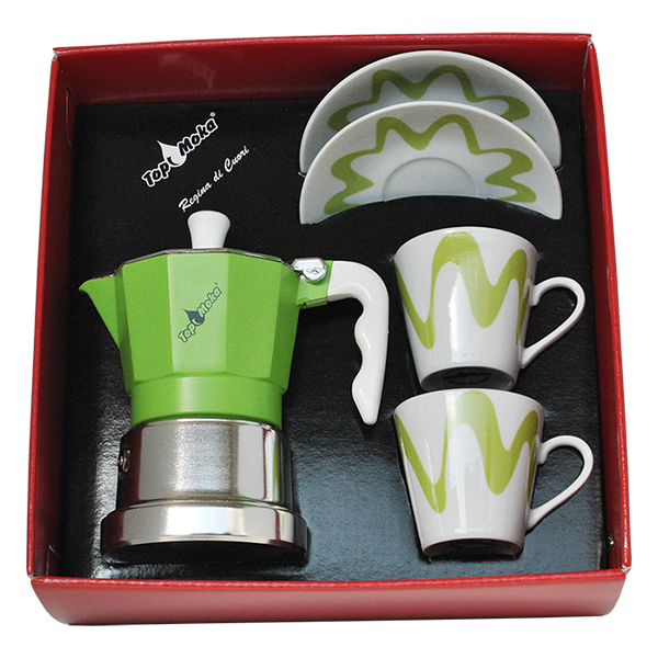 Gift Box - Moka Model Top 2 + 2 tassi Roheline