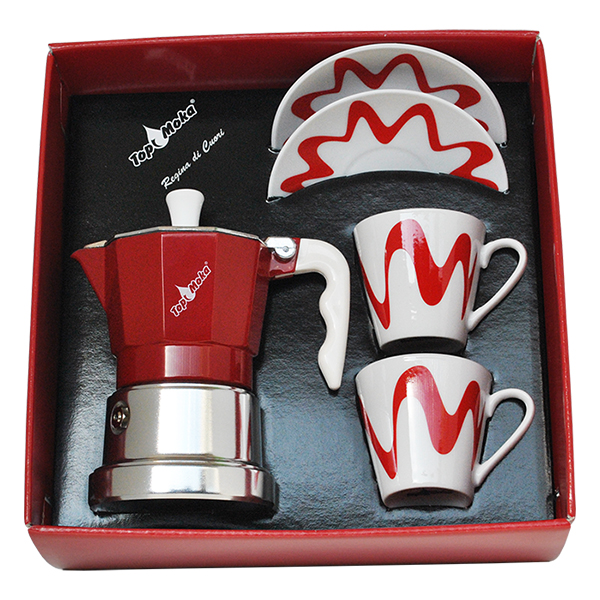 Gift Box - Moka Model Top 2 + 2 tassi Punane
